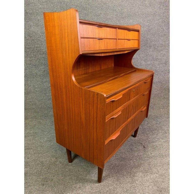 Here is a beautiful 1960s Scandinavian Modern secretary desk in teak recently imported from Denmark to California.