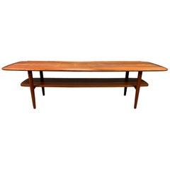 """Vintage Danish Mid-Century Modern Teak """"Surfboard"""" Coffee Table"""