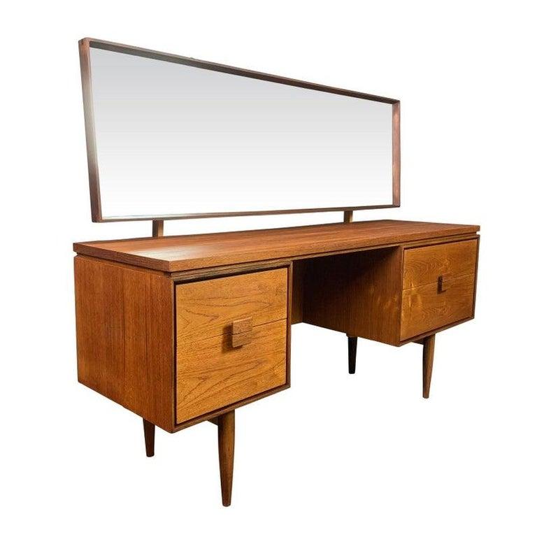 English Vintage Danish Mid-Century Modern Teak Vanity Desk by Kofod Larsen for G Plan For Sale