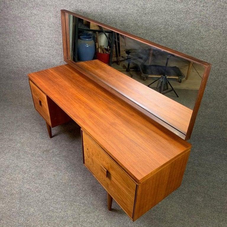 Vintage Danish Mid-Century Modern Teak Vanity Desk by Kofod Larsen for G Plan For Sale 1