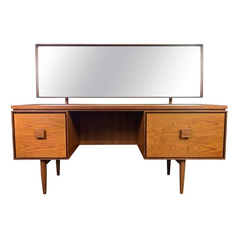 Vintage Danish Mid-Century Modern Teak Vanity Desk by Kofod Larsen for G Plan For Sale