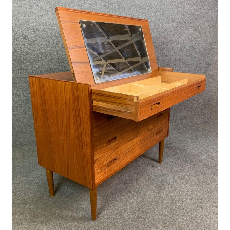 Vintage Danish Mid-Century Modern Teak Vanity Dresser 1