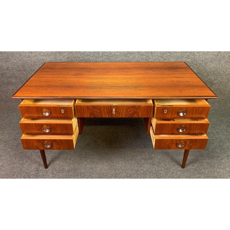 Scandinavian Modern Vintage Danish Mid-Century Modern Teak Writing Desk in the Manner of Arne Vodder For Sale