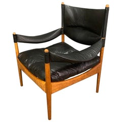 "Vintage Danish Midcentury ""Modus"" Oak & Leather Lounge Chair by Kristian Vedel"