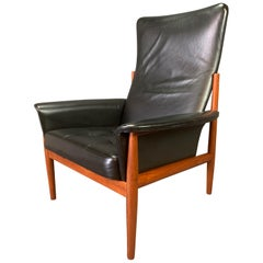 Vintage Danish Midcentury Teak and Leather Lounge Chair by Grete Jalk