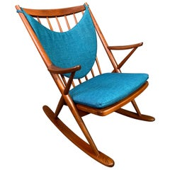 Vintage Danish Midcentury Teak Rocking Chair by Frank Reenskaug for Bramin