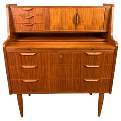 Vintage Danish Midcentury Teak Secretary Desk Attributed to Johannes Andersen