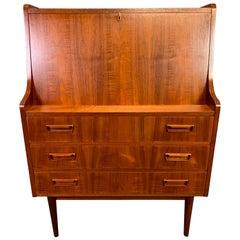 Vintage Danish Midcentury Teak Secretary Desk by Gunner Tibergaard