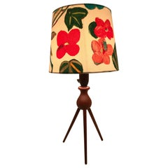 Vintage Danish Midcentury Teak Table Lamp with a Limited Edition Artbymaj Shade