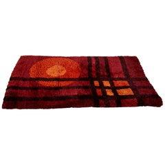 Vintage Danish Modern 1960s High Pile Red Wool Rya Rug