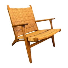 Vintage Danish Modern CH27 Chair in Oak and Cane by Hans Wegner for Carl Hansen