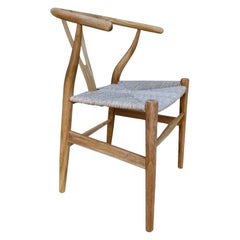 Vintage Danish Modern Chair in Natural Teak Wood with Handwoven Seat