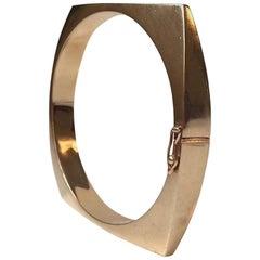 Vintage Danish Modern Concave Bangle Bracelet by Bernhard Hertz, 585, 14-Carat