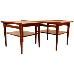 Vintage Danish Modern Finn Juhl for France & Sons Teak 500 Side Tables, Pair