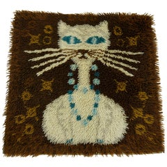 Vintage Danish Modern High Pile Brown and Blue Wool Rug with White Cat