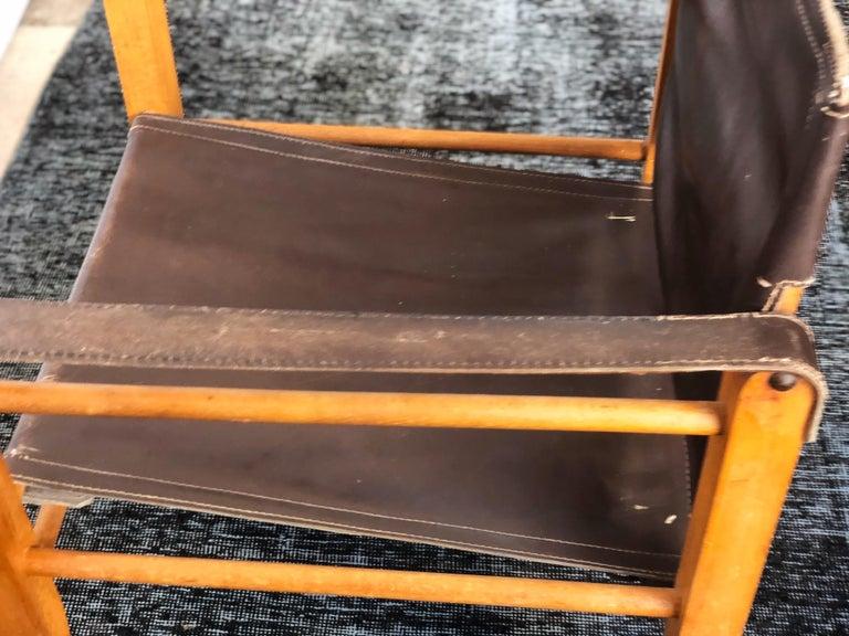 Vintage Danish Modern Leather and Beechwood Safari Chair, circa 1960s For Sale 4