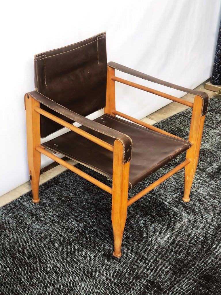Mid-Century Modern Vintage Danish Modern Leather and Beechwood Safari Chair, circa 1960s For Sale