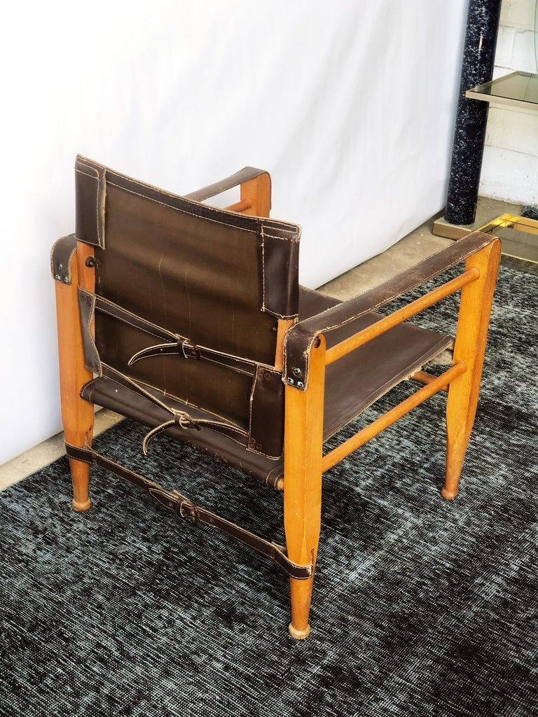 Unknown Vintage Danish Modern Leather and Beechwood Safari Chair, circa 1960s For Sale