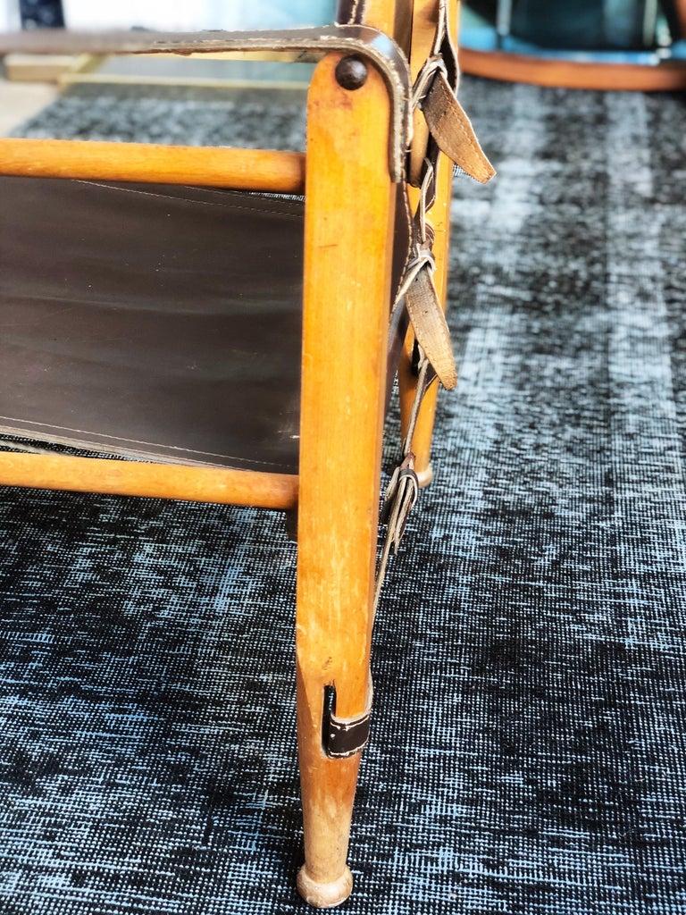 Vintage Danish Modern Leather and Beechwood Safari Chair, circa 1960s For Sale 3