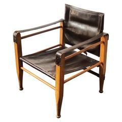 Vintage Danish Modern Leather and Beechwood Safari Chair, circa 1960s