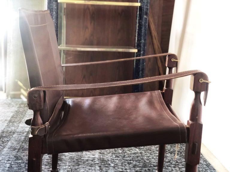 Vintage Danish Modern Leather and Mahogany Safari Chair, circa 1960s For Sale 3