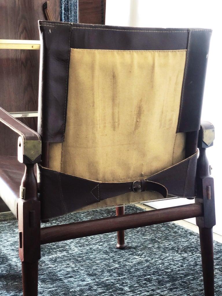Vintage Danish Modern Leather and Mahogany Safari Chair, circa 1960s For Sale 5