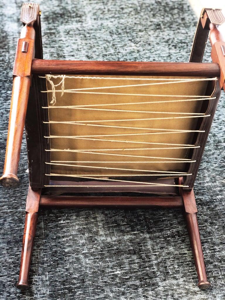 Vintage Danish Modern Leather and Mahogany Safari Chair, circa 1960s For Sale 7