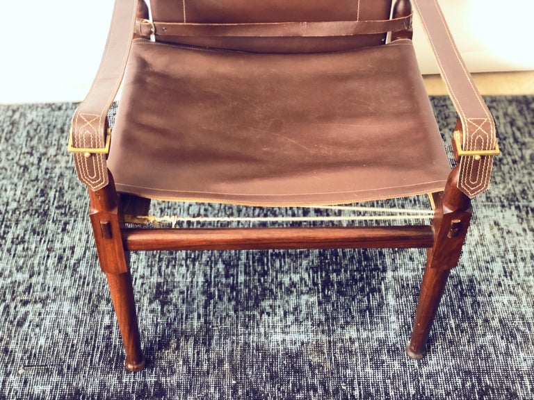 Unknown Vintage Danish Modern Leather and Mahogany Safari Chair, circa 1960s For Sale