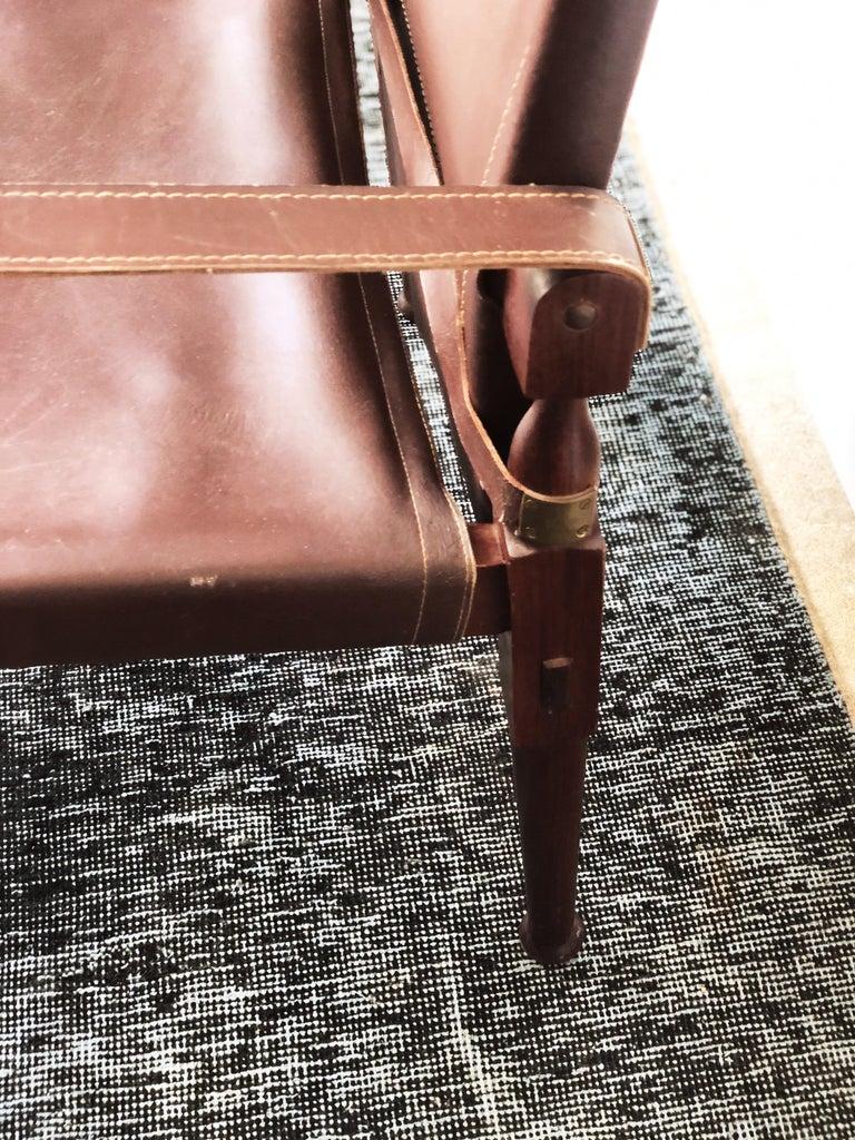 Brass Vintage Danish Modern Leather and Mahogany Safari Chair, circa 1960s For Sale