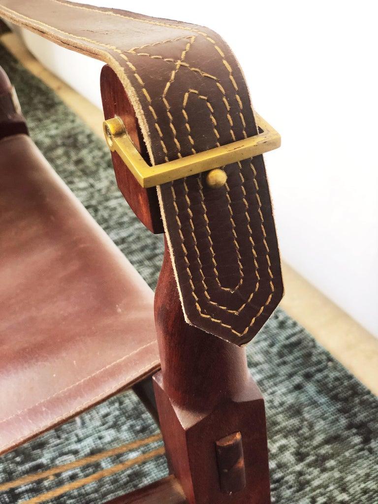 Vintage Danish Modern Leather and Mahogany Safari Chair, circa 1960s For Sale 1