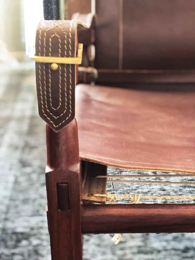 Vintage Danish Modern Leather and Mahogany Safari Chair, circa 1960s For Sale 2
