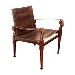 Vintage Danish Modern Leather and Mahogany Safari Chair, circa 1960s