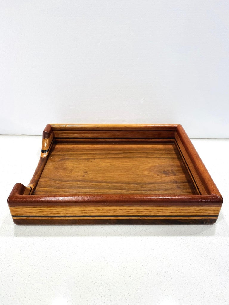 Vintage Danish Modern Letter and Paper Tray in Teak, Maple, and Walnut In Good Condition For Sale In Fort Lauderdale, FL
