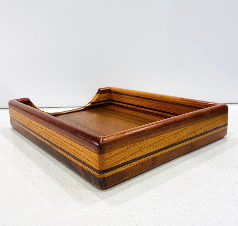 Late 20th Century Vintage Danish Modern Letter and Paper Tray in Teak, Maple, and Walnut For Sale