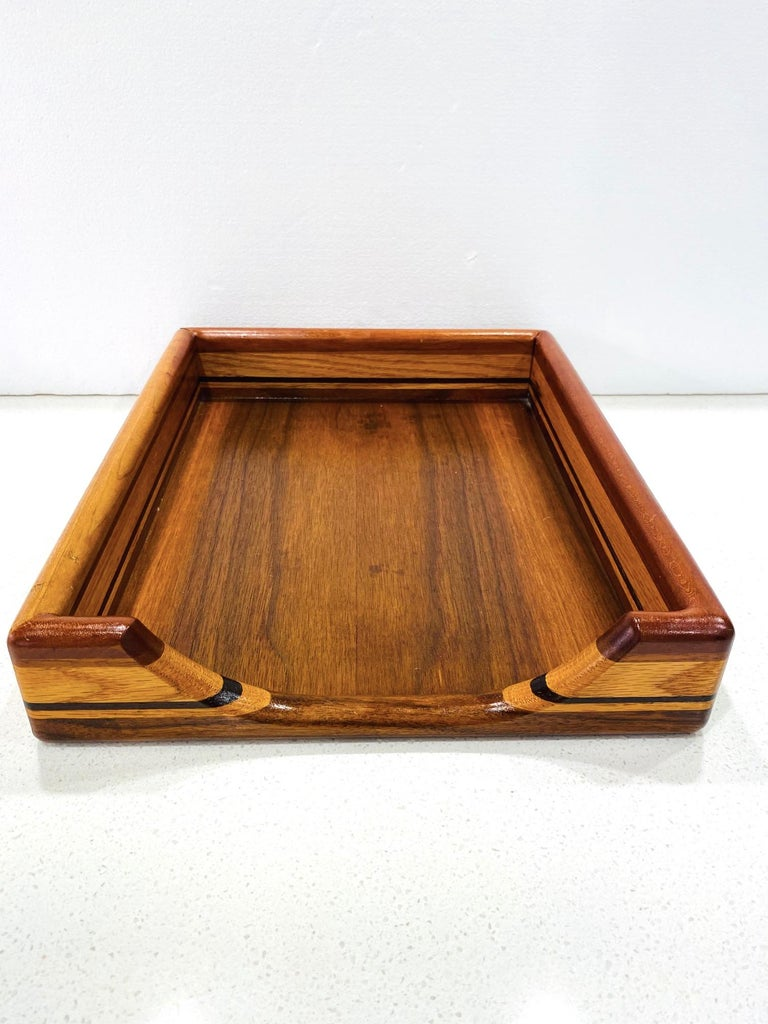 Vintage Danish Modern Letter and Paper Tray in Teak, Maple, and Walnut For Sale 3