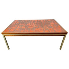 Vintage Danish Modern Rosewood and Fat Lava West German Tile Coffee Table