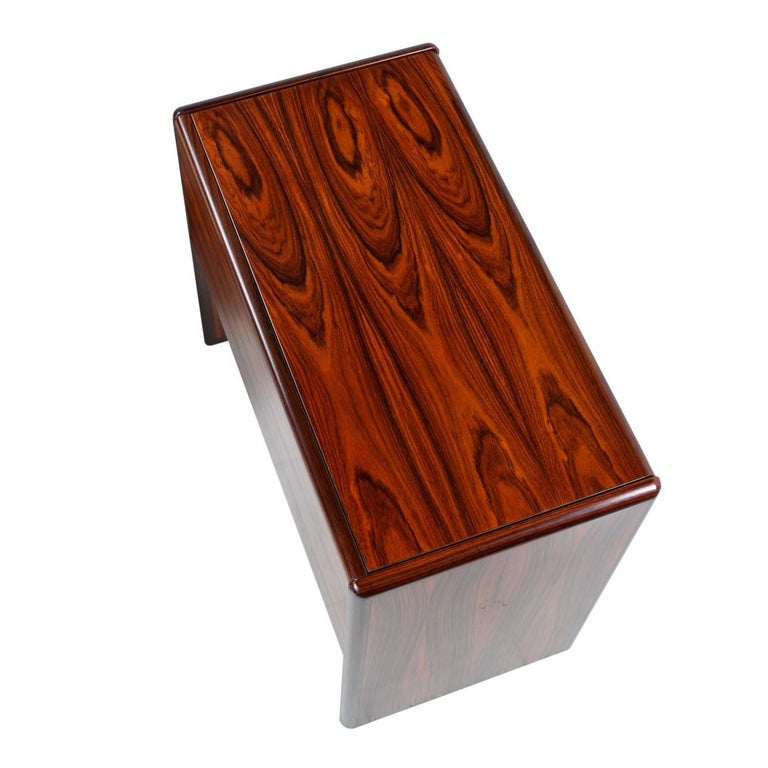 Mid-Century Modern Vintage Danish Modern Rosewood Flip-Top Storage Vanity Desk and Stool Set For Sale
