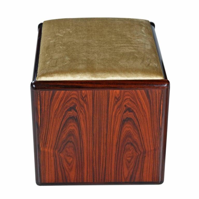 Late 20th Century Vintage Danish Modern Rosewood Flip-Top Storage Vanity Desk and Stool Set For Sale