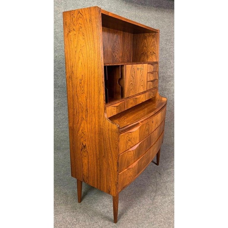 Scandinavian Modern Vintage Danish Modern Rosewood Secretary Desk Attributed to Erling Torvitz