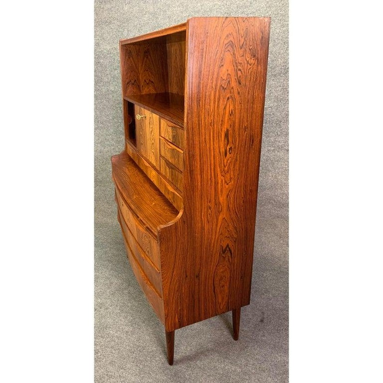 Vintage Danish Modern Rosewood Secretary Desk Attributed to Erling Torvitz In Good Condition In San Marcos, CA
