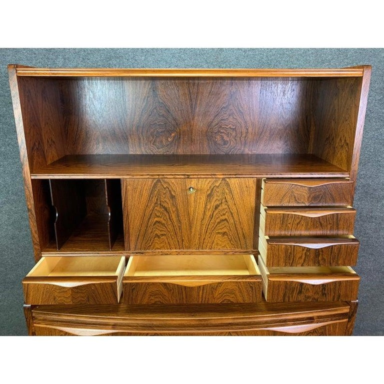Vintage Danish Modern Rosewood Secretary Desk Attributed to Erling Torvitz 1