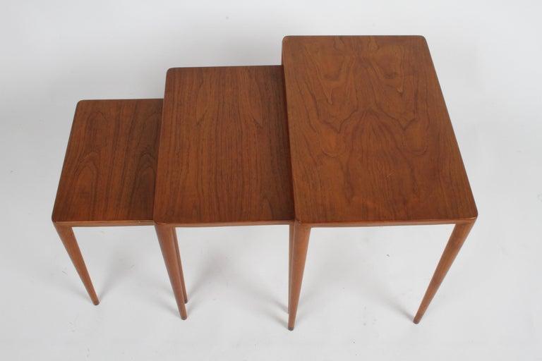 Vintage Danish Modern Set of 3 Teak Nesting Tables Retailed by Illums Bolighus For Sale 4
