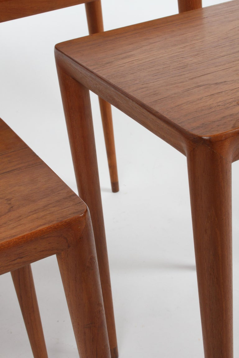 Vintage Danish Modern Set of 3 Teak Nesting Tables Retailed by Illums Bolighus For Sale 6