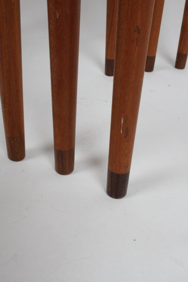 Vintage Danish Modern Set of 3 Teak Nesting Tables Retailed by Illums Bolighus For Sale 14
