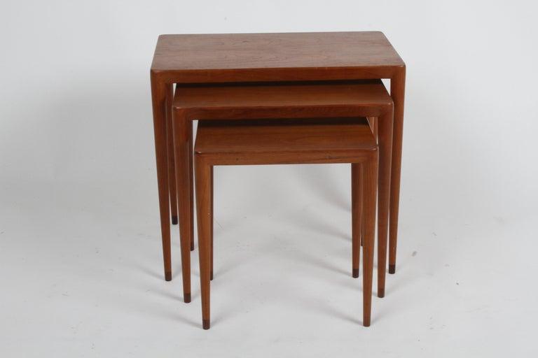 Mid-Century Modern Vintage Danish Modern Set of 3 Teak Nesting Tables Retailed by Illums Bolighus For Sale