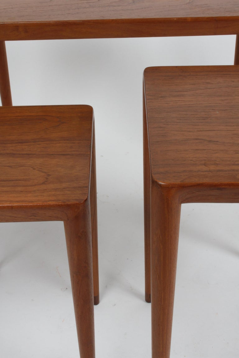 Rosewood Vintage Danish Modern Set of 3 Teak Nesting Tables Retailed by Illums Bolighus For Sale