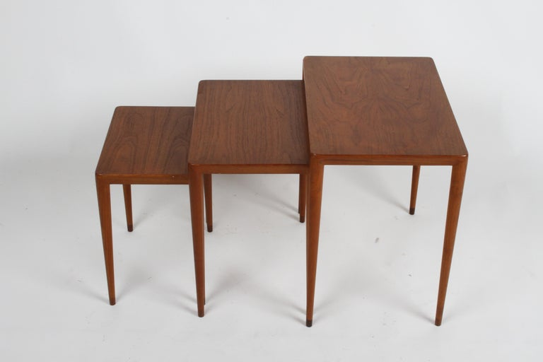 Vintage Danish Modern Set of 3 Teak Nesting Tables Retailed by Illums Bolighus For Sale 1