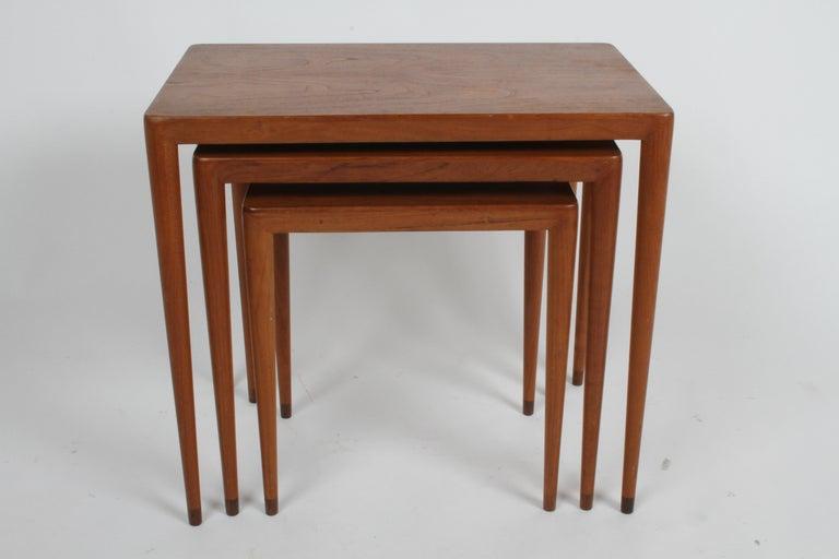 Vintage Danish Modern Set of 3 Teak Nesting Tables Retailed by Illums Bolighus For Sale 2