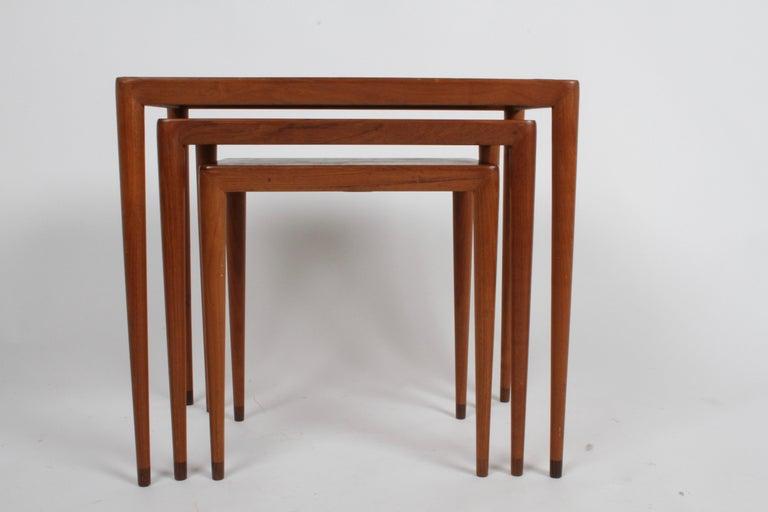 Vintage Danish Modern Set of 3 Teak Nesting Tables Retailed by Illums Bolighus For Sale 3