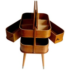 Vintage Danish Modern  Box Storage with Revolving Drawers, Teak Plywood, 1960s